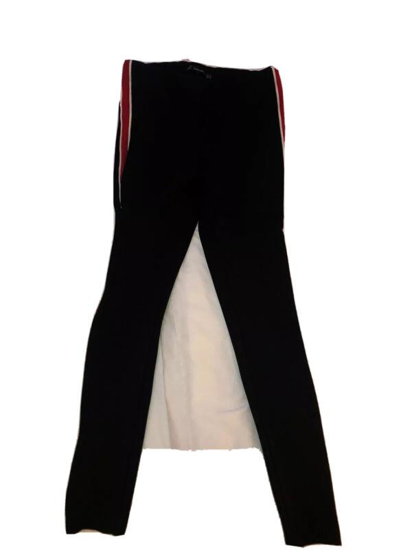 Zara Leggings Black Leggings With Side Stripe Black Red White Medium Zara Pants