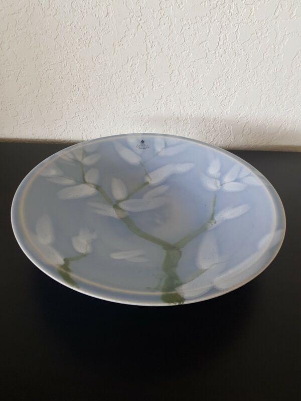 "Paradis Verkstan Öland Sweden Ceramic Art Pottery 11"" Floral Bowl PLATE Signed"