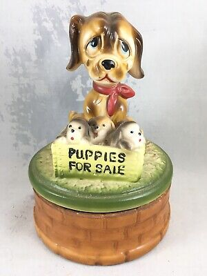 Vintage Music Box Japan Puppies For Sale Mama Dog & Pups Figurine Parts Repair