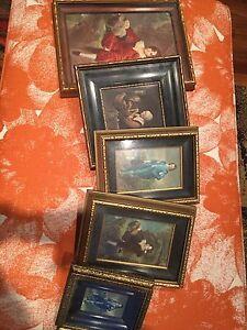5 antique framed items