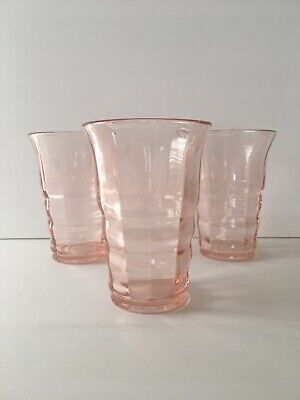 Rare Vintage Pink Paden City Party Line Glasses Set Of 3