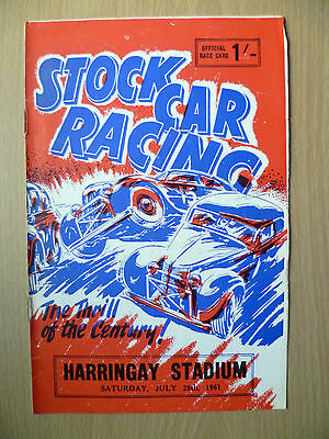 1961 STOCK CAR RACING BULLETIN Programme, 29th July- The Trill of the Century!