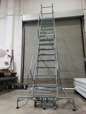 Uline Large Industrial Platform Ladder - Cal Osha Approved - 15 Steps