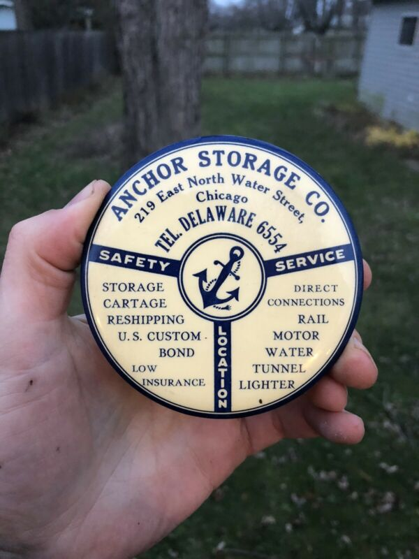 Vintage Anchor Storage Co Chicago Illinois Advertising Pockey Mirror