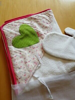 - Brand new in gift muslin bag Absorba soft terry hooded baby towel and wash mitt
