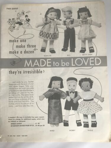 """Vintage Cloth Doll Pattern """"Made to be Loved"""""""