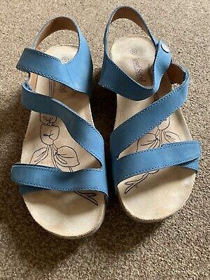 Josef Seibel Pretty  Blue Womens Adjustable Leather Sandals Size 7