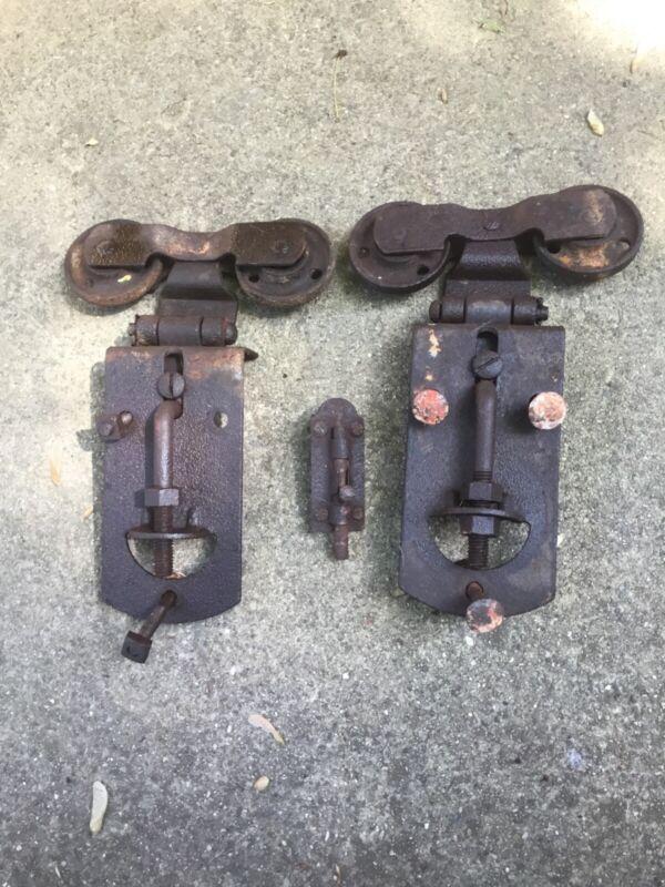 2 Vintage Barn Door Roller Lot Hardware Metal Steampunk Rare Old Genuine