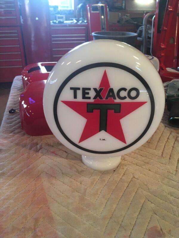 "Eco Airmeter Texaco Mini Globe Milk Glass 9"" Globe 3"" Base Gas Pump"