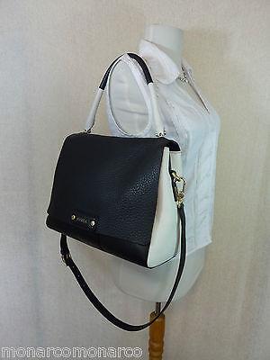 NWT FURLA Onyx Black/White Pebbled Leather Penelope Shoulder Bag $598