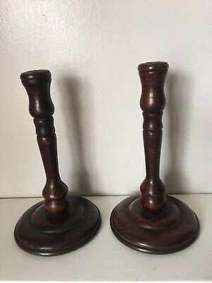Beautiful Rustic Matching Pair Of Turned Wood Candlesticks Arts & Crafts Vin