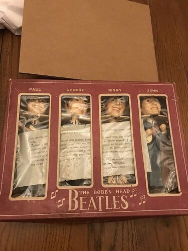 Vintage 1964 Bobblehead Beatles Car Mascots In Box