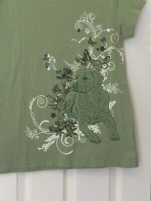 "Bit & Bridle Women's Size M Green Color Short Sleeve Top ""Flowers/Lab Dog"" for sale  Elm City"