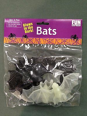 Fun Express Halloween Glow in the Dark & Black Bats 8 Pieces New In Package - Halloween Fun Packet