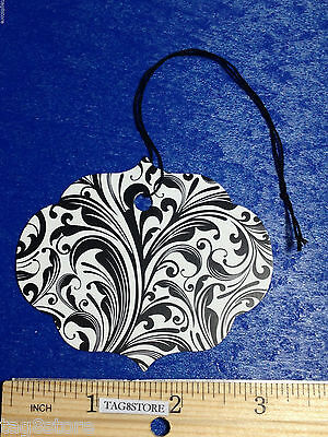 100 Large Elegant Ornate Black White Merchandise Price Tags W String Retail