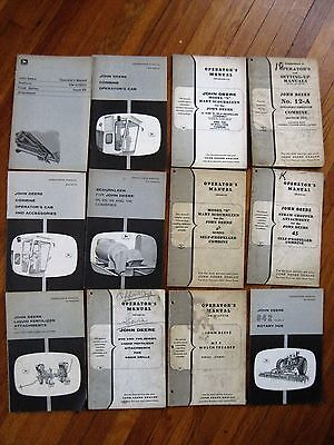 Lot of 12 John Deere Operator manual Combine accesories Rotary hoe mulchs