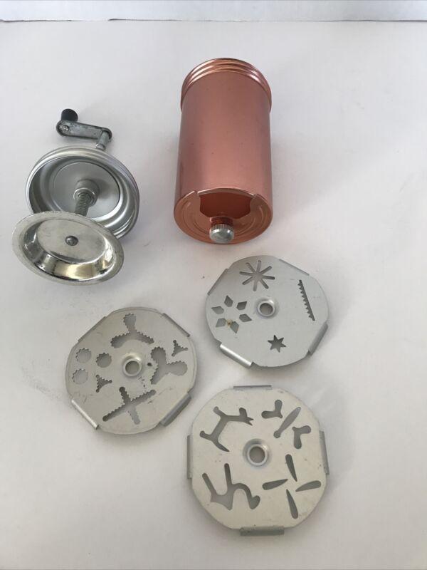 Vintage Mirro Copper Dial a Cookie Press 3 Plates Retro Hand Crank 12 designs