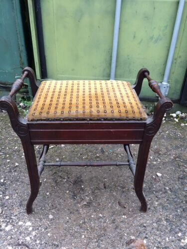 Antique Victorian Ebonised Piano Stool With Lift Up Lid