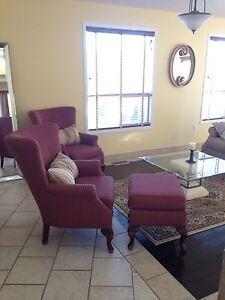 Wing Back Accent Chair and Ottoman