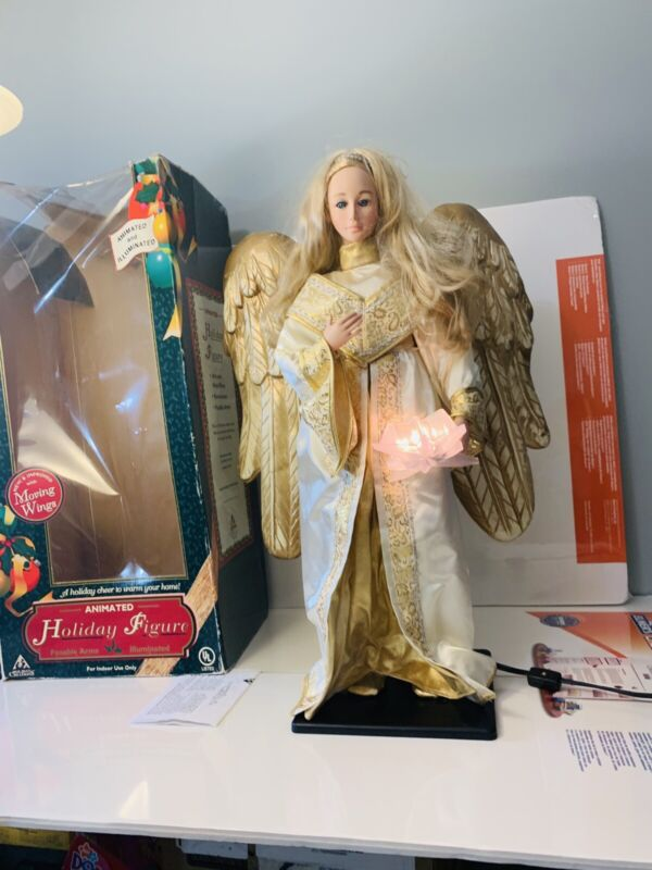 """Vtg  HOLIDAY CREATIONS ANIMATED ANGEL IN BOX 24"""" CHRISTMAS FIGURE LIGHTED"""