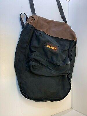 L796- Vintage Eastpak Black Leather Bottom Backpack Made in USA