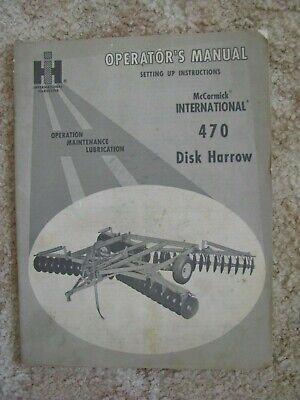 International Harvester Ih 470 Disk Harrow  Operators Manual