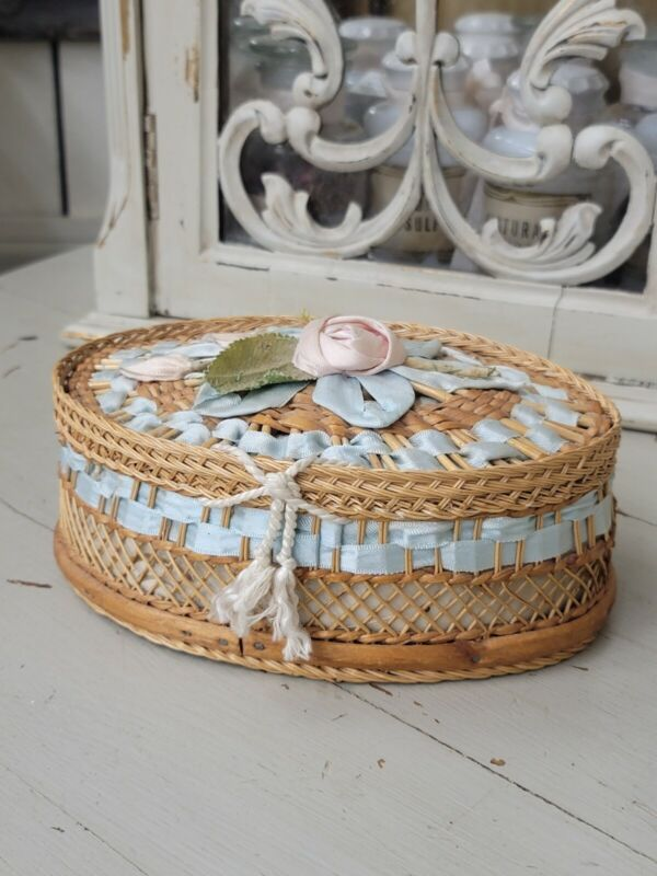 Rare Antique French Ribbon Work - Wicker Sewing Basket - Tufted Blue Silk Lining