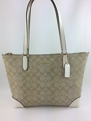 Coach F29208 Zip Top Tote In Signature Canvas Handbag Shoulder Bag Purse Chalk