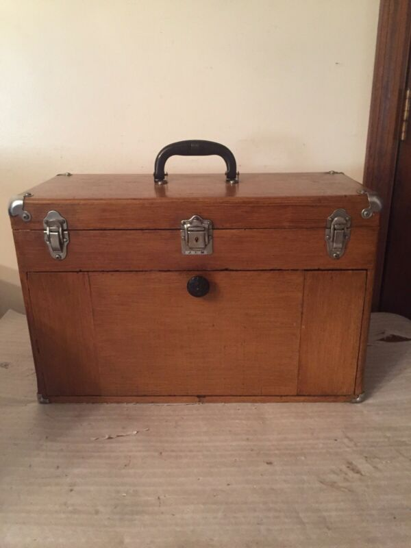 """VINTAGE 7 DRAWER WOODEN MACHINIST TOOLBOX WITH KEY 20"""" X 13"""" X 9""""FREE SHIPPING"""