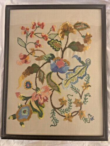 Vintage Large Hand Embroidered Jacobean Crewel Work Finished Framed #2