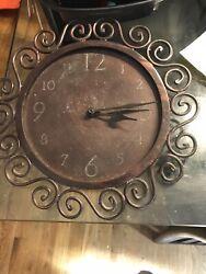 Brown Metal Scroll Battery-operated Clock