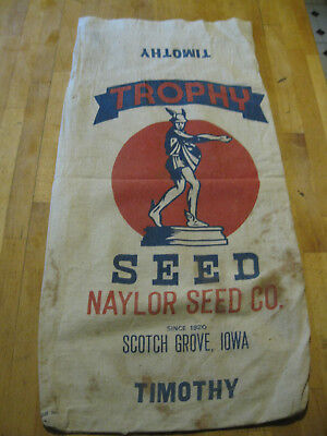 Vintage Advertising Trophy Timothy Seed Cotton Sack Naylor Seed co.