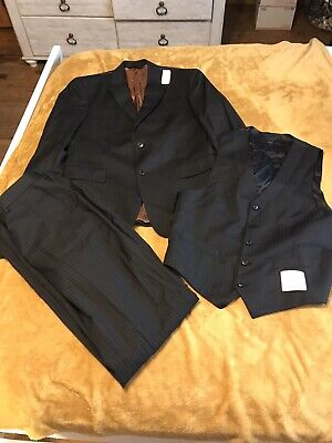 Jos A Bank Men's 3-piece Black Pinstripe Suit Jacket Best Pants NWT $995 40 (Best 3 Piece Suits For Men)
