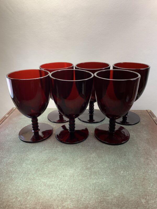 Vintage Monarch Bowl Stem Ruby Red Wine Goblets