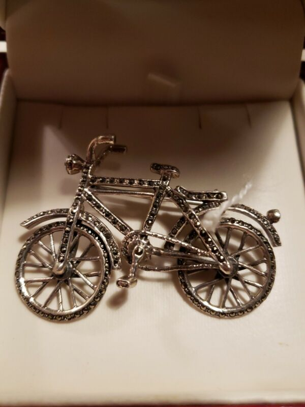 Sterling Silver 925 Bicycle Brooch Mercasite Stone