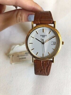 BRAND NEW MENS TISSOT 18K SOLID GOLD , GENUINE LEATHER WATCH R//: 1,275.