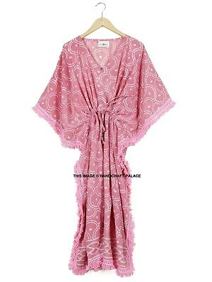 Anokhi Print Indian Cotton Block Printed Women Pink Kaftan Sexy Beach Abaya Maxi