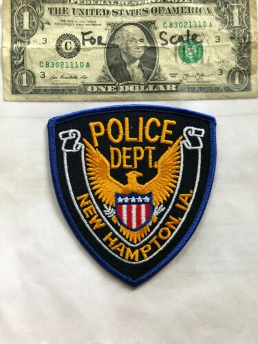 Rare New Hampton Iowa Police Patch Un-sewn great shape