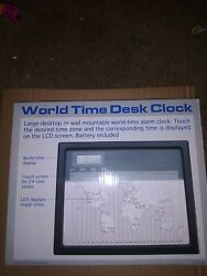 Attractive Vintage World Time Touch Sensor Executive Desk Clock. Digital Readout