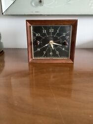 Elegant Electric Telechron mid century wooden alarm clock —— Keeps Perfect Time