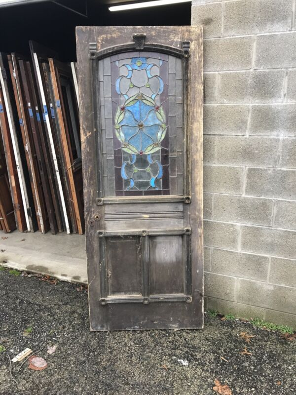 """Mk131 Antique Stained And Jeweled Door 31.75 X 80 X 1 3/8"""""""