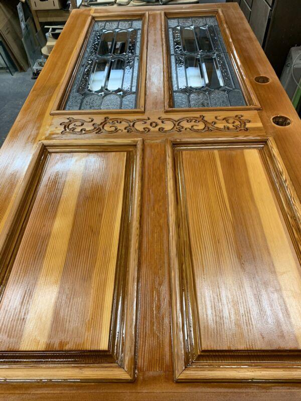 Vintage Antique Wood Front Door Ornate Awesome Detail Beveled Glass