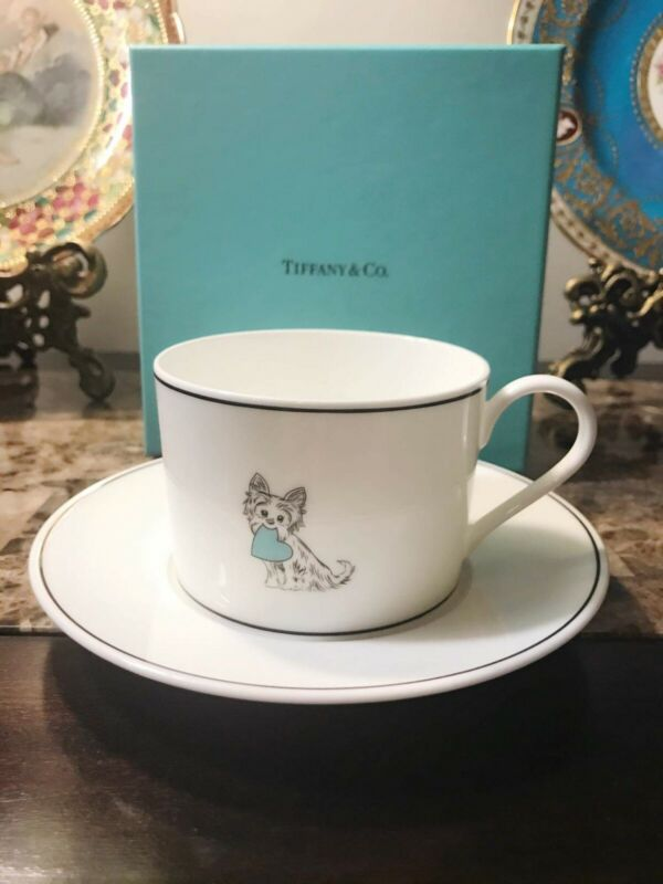 Authentic Tiffany and Co. Yorkie Cup and Saucer Set , Very rare