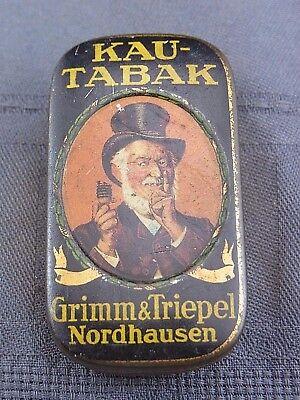 alte Blechdose Kautabak Grimm & Triepel Nordhausen 1926