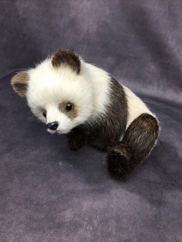 VINTAGE - Real Fur Panda Figure Figurine - REALISTIC - Glass Eyes - China Japan