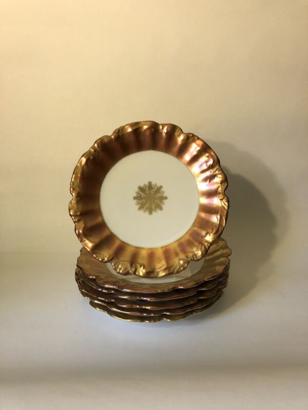 "Set of 6 Straus & Sons Limoges ""Gold Rim/Band"" 8 1/4"" Salad Plates"
