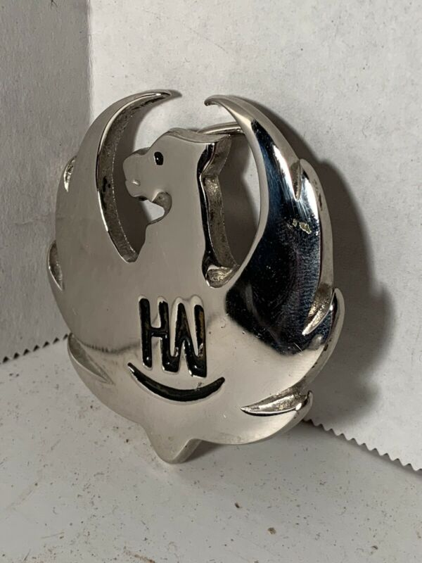 VINTAGE HANK WILLIAMS JR. HW CHROME BELT BUCKLE RUGER BOCEPHUS OUTLAW COUNTRY