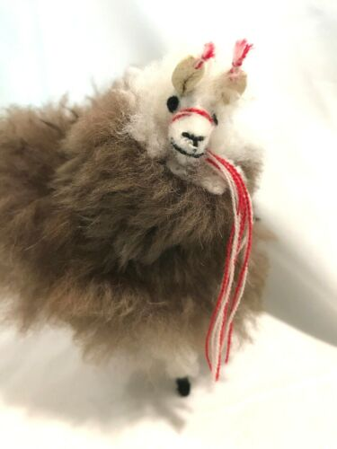 Vintage Llama Alpaca Real Fur Wool Figurine Figure Hand-Crafted