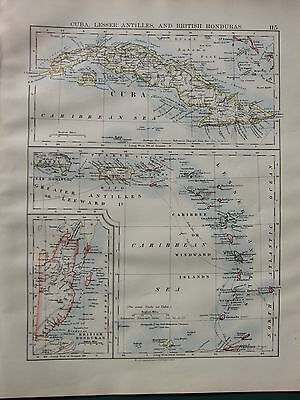 1900 VICTORIAN MAP ~ CUBA LESSER ANTILLES BRITISH HONDURAS WINDWARD