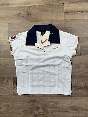 Nike Vintage Crop Top Tennis Polo Womens White 90's Small NEW WITH TAGS